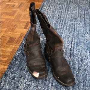 Frye brown harness boots, size 8